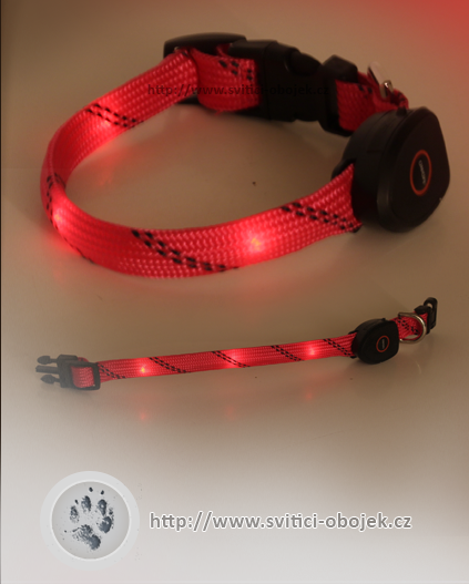 Svítící obojek pro malé psy USB - Červený