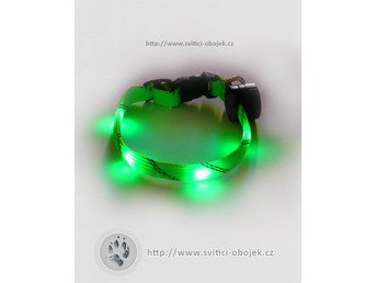 Svítící obojek pro malé psy - Zelený