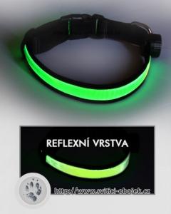 Svítící obojek reflexní - Zelený