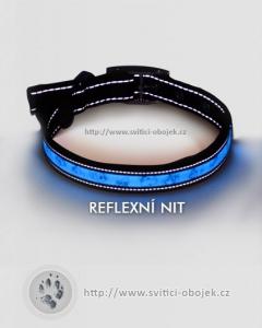 Svítící obojek - Modrý - reflexni nit a kovová přezka