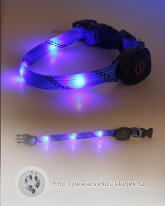 Svítící obojek pro malé psy USB - Modrý