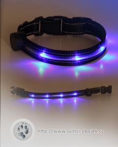 Svítící obojek reflexní nit - Modrý