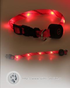 Svítící obojek pro malé psy - Červený